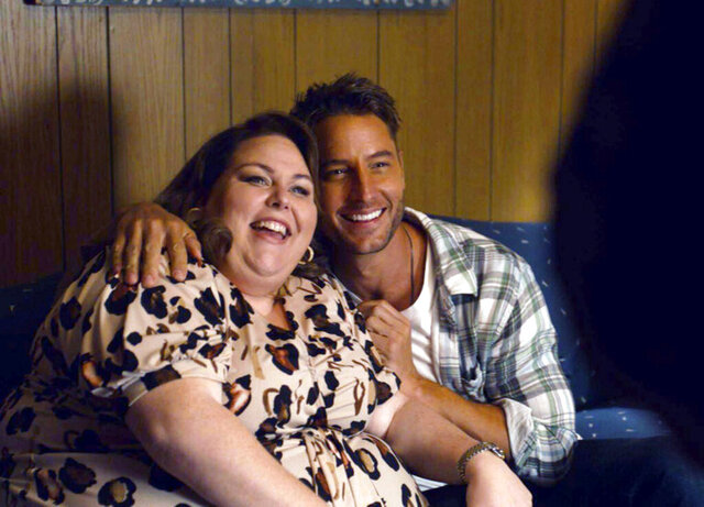 This image released by NBC shows Chrissy Metz as Kate, left, and Justin Hartley as Kevin, in a scene from