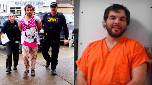This photo combination provided by WSAZ-TV shows Jeffrey Hoskins in Jackson County, W.Va. Hoskins, a West Virginia man who strangled his infant daughter has been charged with murder following her death after more than a year on life support, authorities said Friday, Jan. 24, 2020. (WSAZ-TV via AP)