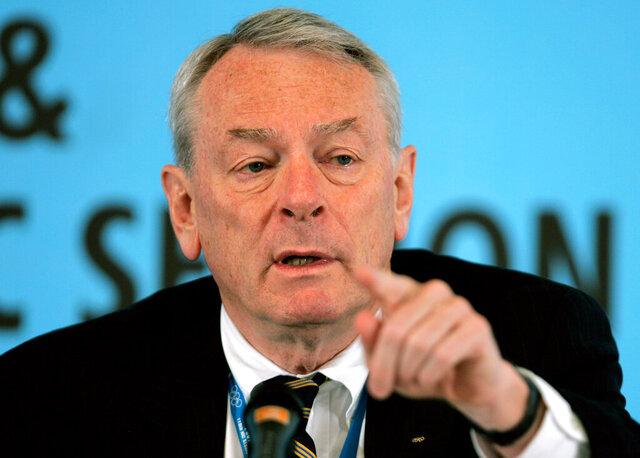 "FILE - This is a Friday, July 6, 2007 file photo, World Anti-Doping Agency chief Dick Pound as he gestures during a press briefing at the 119th Session of the International Olympic Committee (IOC) in Guatemala City. In an interview with Japan's Kyodo news agency published on Thursday, Jan. 21, 2021, Pound says the Tokyo Olympics can go ahead without fans. Pound says: ""The question is — is this a 'must-have' or 'nice-to-have.' It's nice to have spectators (AP Photo/Andres Leighton, File)"