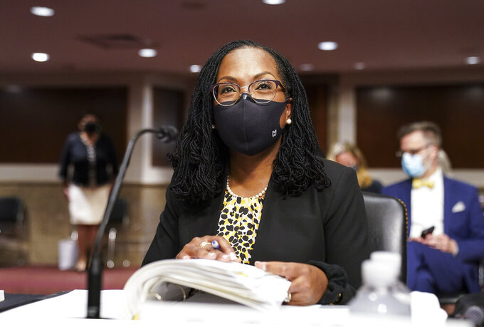 Ketanji Brown Jackson, nominated to be a U.S. Circuit Judge for the District of Columbia Circuit, prepares to testimony before a Senate Judiciary Committee hearing on pending judicial nominations, Wednesday, April 28, 2021 on Capitol Hill in Washington.  (Kevin Lamarque/Pool via AP)