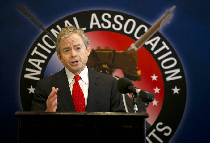 FILE - In this Jan. 15, 2015 file photo, then-Texas Sen. Don Huffines speaks during a news conference in Austin, Texas. Huffines, a former state senator from Dallas who has sharply criticized Texas' handling of the pandemic, said Monday, May 10, 2021 he will challenge Republican Gov. Greg Abbott in 2022. (Deborah Cannon/Austin American-Statesman via AP, File)