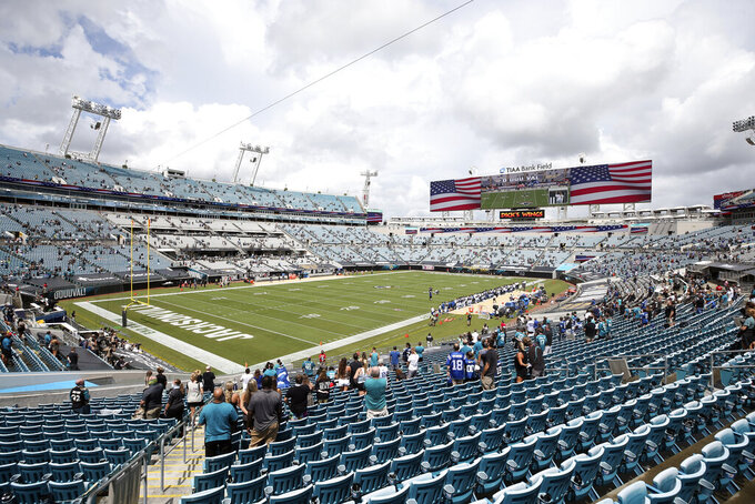 Fans stand for the national anthem as they social distance during the first half of an NFL football game between the Jacksonville Jaguars and the Indianapolis Colts, Sunday, Sept. 13, 2020, in Jacksonville, Fla. (AP Photo/Stephen B. Morton)