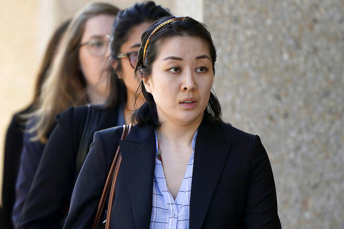 FILE - In this Sept. 12, 2019 file photo, Tiffany Li arrives at the courthouse in Redwood City, Calif. After deliberating for 12 days, jurors said Friday, Nov. 15, 2019 that Li is not guilty of conspiring with her boyfriend to kill 27-year-old Keith Green, who was the father of Li's children. (AP Photo/Tony Avelar, File)
