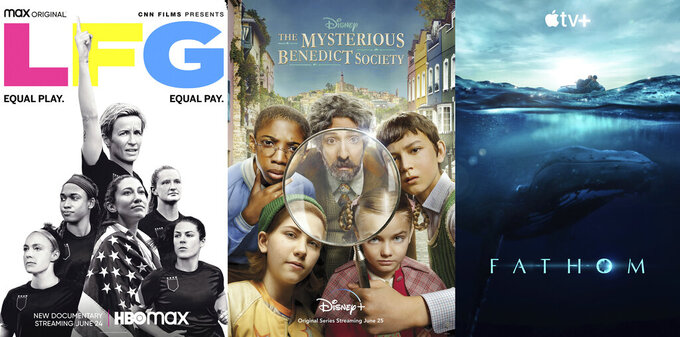 """This combination of photos shows promotional art for """"LFG,"""" o documentary premiering June 24 on HBO Max, left, """"The Mysterious Benedict Society,"""" a series on Disney Plus premiering June 25 and """"Fathom,"""" a documentary premiering June 25 on Apple TV Plus. (HBO Max/Disney+/Apple TV+ via AP)"""