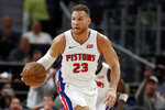 Detroit Pistons forward Blake Griffin brings the ball up court during the first half of an NBA basketball game against the Minnesota Timberwolves, Monday, Nov. 11, 2019, in Detroit. (AP Photo/Carlos Osorio)