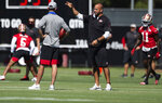 San Francisco 49ers defensive coordinator Robert Saleh, right, trains during NFL football training camp practice Saturday, Aug. 15, 2020, at the SAP Performance Facility in Santa Clara, Calif. (Xavier Mascarenas/The Sacramento Bee via AP, Pool)