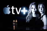 Actors Reese Witherspoon, left, and Jennifer Aniston speak at the Steve Jobs Theater during an event to announce new Apple products Monday, March 25, 2019, in Cupertino, Calif. (AP Photo/Tony Avelar)