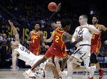 Southern California's Jonah Mathews (2) collides with California's Matt Bradley (20) in the first half of an NCAA college basketball game Saturday, Feb. 16, 2019, in Berkeley, Calif. (AP Photo/Ben Margot)