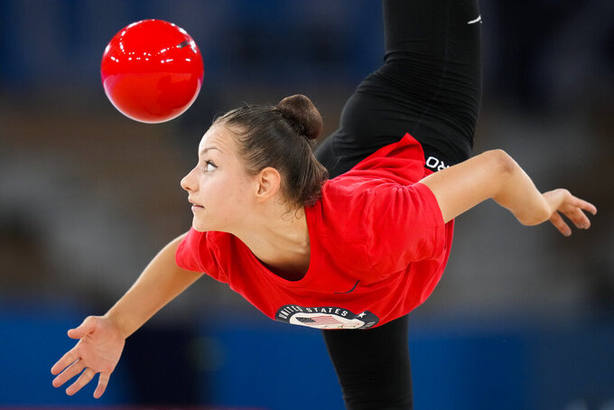 Evita Griskenas of the United States performs during a rhythmic gymnastics individual training session at the 2020 Summer Olympics, Thursday, Aug. 5, 2021, in Tokyo, Japan. (AP Photo/Markus Schreiber)
