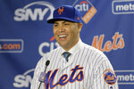 FILE - In this Nov. 4, 2019, file photo, New York Mets new manager Carlos Beltran smiles during an introductory baseball news conference in New York. Beltran is out as manager of the Mets. The team announced the move Thursday, Jan. 16, 2020. (AP Photo/Seth Wenig, File)