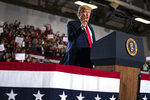 President Donald Trump speaks during a campaign rally at the Wildwoods Convention Center Oceanfront, Tuesday, Jan. 28, 2020, in Wildwood, N.J. (AP Photo/ Evan Vucci)