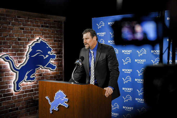 In this image provided by the Detroit Lions, Detroit Lions head coach Dan Campbell speaks during a news conference via video on his first day at the NFL football team's practice facility, Thursday, Jan. 21, 2021 in Allen Park, Mich. (Detroit Lions via AP).