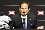 Kansas head coach Les Miles speaks on the first day of Big 12 Conference NCAA college football media days Monday, July 15, 2019, at AT&T Stadium in Arlington, Texas. (AP Photo/David Kent)