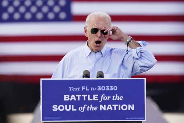 Democratic presidential candidate former Vice President Joe Biden speaks at a drive-in rally at Broward College, Thursday, Oct. 29, 2020, in Coconut Creek, Fla. (AP Photo/Andrew Harnik)