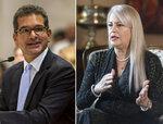 Esta combinación de dos fotos muestra a Pedro Puerluisi y Wanda Vázquez, en San Juan, Puerto Rico. El secretario de Estado y la gobernadora compiten en la primarias del domingo 9 de agosto del 2020, en la isla. (AP Foto/Dennis M. Rivera Pichardo)