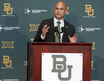 Baylor's new head football coach Dave Aranda addresses the media during an NCAA college football news conference, Monday, Jan. 20, 2020, in Waco, Texas. (Jerry Larson/Waco Tribune-Herald via AP)