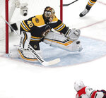 Boston Bruins goaltender Tuukka Rask (40), of Finland, makes a toe save on a shot by Carolina Hurricanes' Sebastian Aho (20), of Finland, during the first period in Game 1 of the NHL hockey Stanley Cup Eastern Conference finals, Thursday, May 9, 2019, in Boston. (AP Photo/Charles Krupa)