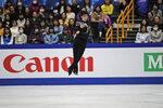 Nathan Chen from the U.S. performs his men's free skating routine during the ISU World Figure Skating Championships at Saitama Super Arena in Saitama, north of Tokyo, Saturday, March 23, 2019. (AP Photo/Andy Wong)