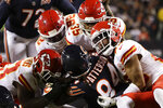 Chicago Bears wide receiver Cordarrelle Patterson (84) is brought down by Kansas City Chiefs inside linebacker Anthony Hitchens (53), Tanoh Kpassagnon (92), Charvarius Ward (35) and Armani Watts in the second half of an NFL football game in Chicago, Sunday, Dec. 22, 2019. (AP Photo/Nam Y. Huh)
