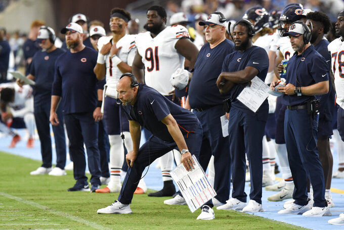 Chicago Bears head coach Matt Nagy watches from the sideline in the first half of a preseason NFL football game against the Tennessee Titans Saturday, Aug. 28, 2021, in Nashville, Tenn. (AP Photo/Mark Zaleski)