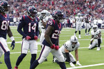 Houston Texans running back Duke Johnson (25) celebrates his touchdown catch against the Oakland Raiders during the first half of an NFL football game Sunday, Oct. 27, 2019, in Houston. (AP Photo/Michael Wyke)