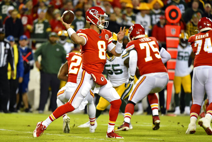 Kansas City Chiefs quarterback Matt Moore (8) throws a pass during the first half of an NFL football game against the Green Bay Packers in Kansas City, Mo., Sunday, Oct. 27, 2019. (AP Photo/Ed Zurga)