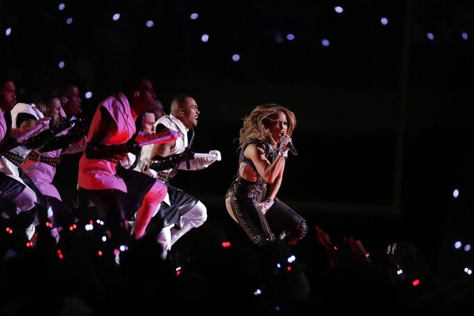 Jennifer Lopez performs during halftime of the NFL Super Bowl 54 football game between the Kansas City Chiefs and the San Francisco 49ers Sunday, Feb. 2, 2020, in Miami Gardens, Fla. (AP Photo/Wilfredo Lee)