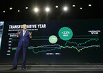 Starbucks CEO Kevin Johnson stands in front of a graph charting his company's stock price over the last 12 months as he speaks Wednesday, March 20, 2019, at the company's annual shareholders meeting in Seattle. (AP Photo/Ted S. Warren)