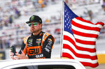 Kurt Busch looks on before a NASCAR Cup Series auto race at Las Vegas Motor Speedway, Sunday, Sept. 15, 2019. (AP Photo/Chase Stevens)