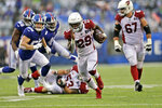 Arizona Cardinals' Chase Edmonds (29) runs the ball for a touchdown during the second half of an NFL football game against the New York Giants, Sunday, Oct. 20, 2019, in East Rutherford, N.J. (AP Photo/Adam Hunger)