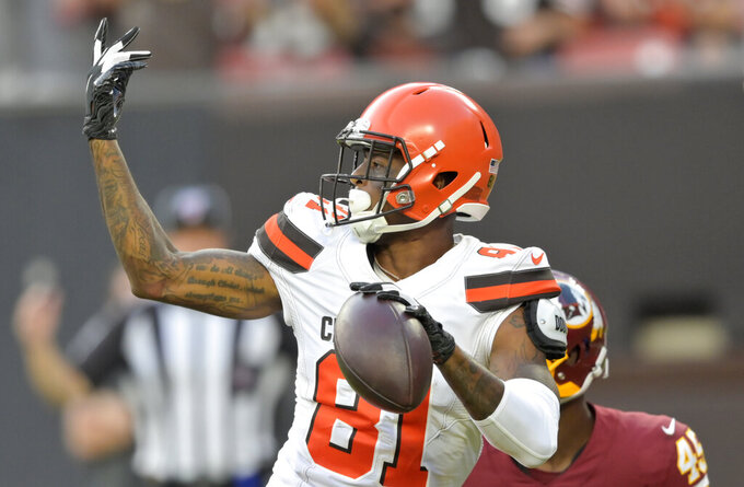 Cleveland Browns wide receiver Rashard Higgins celebrates a 24-yard touchdown during the first half of the team's NFL preseason football game against the Washington Redskins, Thursday, Aug. 8, 2019, in Cleveland. (AP Photo/David Richard)
