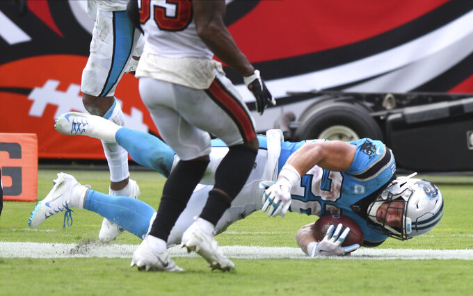 Carolina Panthers running back Christian McCaffrey (22) scores against the Tampa Bay Buccaneers during the second half of an NFL football game Sunday, Sept. 20, 2020, in Tampa, Fla. (AP Photo/Jason Behnken)