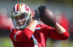 FILE—In this July 26, 2018, file photo, San Francisco 49ers wide receiver Max McCaffrey makes a reception during NFL football practice in Santa Clara, Calif. McCaffrey has joined the coaching staff of his father, retired NFL wide receiver Ed McCaffrey, to guide the Bears on the gridiron at Northern Colorado. (AP Photo/Ben Margot, File)