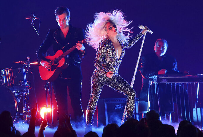 Lady Gaga, right, and Mark Ronson perform