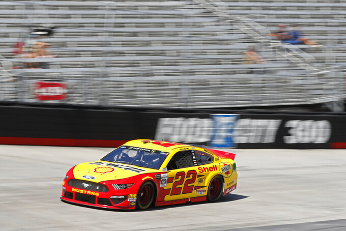 Driver Joey Logano makes his was around the track during practice for a NASCAR Cup Series auto race, Friday, Aug. 16, 2019, in Bristol, Tenn. (AP Photo/Wade Payne)