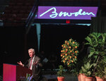 Tommy Bowden, former head coach at Clemson, eulogizes his father, longtime Florida State football coach Bobby Bowden, as he lies in repose at the Tucker Civic Center during a public celebration of life, Saturday, Aug. 14, 2021, in Tallahassee, Fla. Bobby Bowden became the FSU football coach in 1976, transforming the program into one of the best in the country. He coached FSU to national championships in 1993 and 1999. Bowden was 91. (AP Photo/Mark Wallheiser)