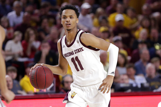 FILE - In this March 7, 2020, file photo, Arizona State guard Alonzo Verge Jr. looks to pass the ball during the team's NCAA college basketball game against Washington State in Tempe, Ariz. Verge has become the third Arizona State player to declare for the NBA draft. (AP Photo/Matt York, File)