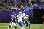 Minnesota Vikings free safety Harrison Smith (22) intercepts a pass during the second half of an NFL football game against the Detroit Lions, Sunday, Dec. 8, 2019, in Minneapolis. (AP Photo/Bruce Kluckhohn)