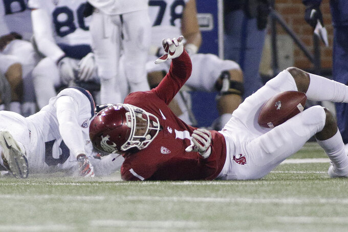 Washington State wide receiver Davontavean Martin (1) hangs on to a pass with his legs against Arizona safety Christian Young during the second half of an NCAA college football game in Pullman, Wash., Saturday, Nov. 17, 2018. Washington State won 69-28. (AP Photo/Young Kwak)