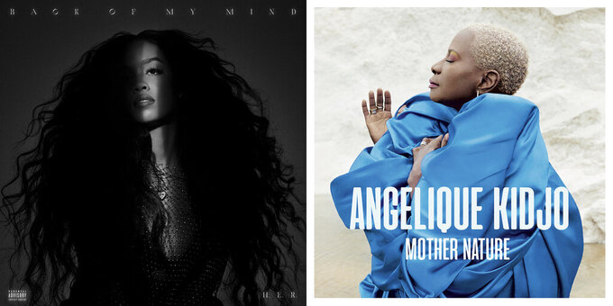 """This combination of cover images shows """"Back of My Mind"""" by H.E.R., left, and Angélique Kidjo's album """"Mother Nature."""" (MBK Entertainment-RCA via AP, left, and Universal Music via AP)"""