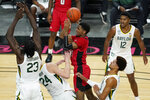 Louisiana-Lafayette's Mylik Wilson fouls Baylor's Matthew Mayer (24) during the first half of an NCAA college basketball game Saturday, Nov. 28, 2020, in Las Vegas. (AP Photo/John Locher)