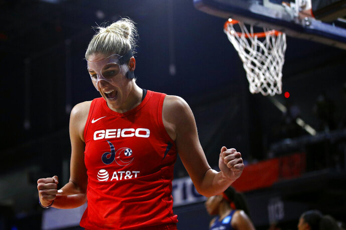 Washington Mystics forward Elena Delle Donne reacts after getting fouled while scoring in the second half of Game 1 of basketball's WNBA Finalsagainst the Connecticut Sun, Sunday, Sept. 29, 2019, in Washington. Delle Donne contributed a team-high 22 points to Washington's 95-86 win. (AP Photo/Patrick Semansky)