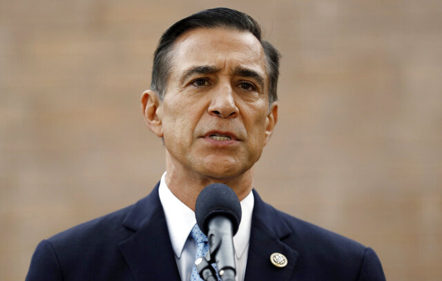 FILE - In this Sept. 26, 2019 file photo, former Republican congressman Darrell Issa speaks during a news conference in El Cajon, Calif. A fierce fight between Republican candidates has punctuated the race for the vacated seat of disgraced California GOP Rep. Duncan Hunter, who dropped out and resigned from Congress in January after pleading guilty to a corruption charge. The 50th district GOP front-runners are San Diego radio host and political commentator Carl DeMaio and former U.S. Rep. Darrell Issa, who retired from a neighboring district in 2018. Under California election rules, the top two vote-getters in Tuesday's primary advance to the general election, regardless of party affiliation. It's likely one is eliminated and the other faces off against the only Democrat in the field, 31-year-old former Obama administration official Ammar Campa-Najjar. (AP Photo/Gregory Bull, File)