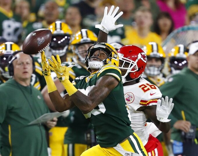 *Kansas City Chiefs' Mark Fieldsbreaks up a pass intended for Green Bay Packers' Teo Redding during the first half of a preseason NFL football game Thursday, Aug. 29, 2019, in Green Bay, Wis. (AP Photo/Matt Ludtke)