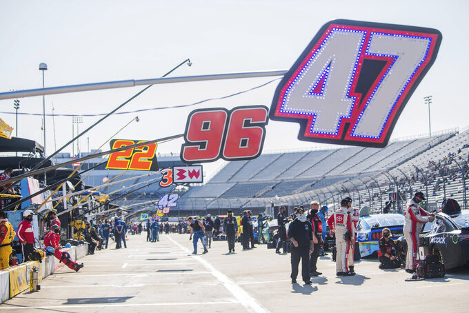 Pit area was clam prior to a NASCAR Cup Series auto race at the Martinsville Speedway in Martinsville, Va., Sunday, Nov. 1, 2020. (AP Photo/Lee Luther Jr.)