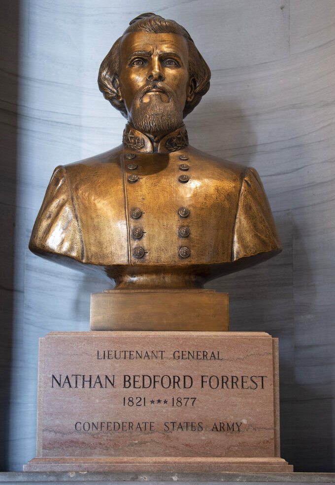 The bust of Nathan Bedford Forrest rests in the State Capitol Thursday, July 22, 2021 in Nashville, Tenn. The State Building Commission on Thursday gave approval for the relocation of the Forrest bust to the Tennessee State Museum, a final step in a process that has taken more than a year since Gov. Bill Lee first said it was time for the statue to be moved. (George Walker IV/The Tennessean via AP)