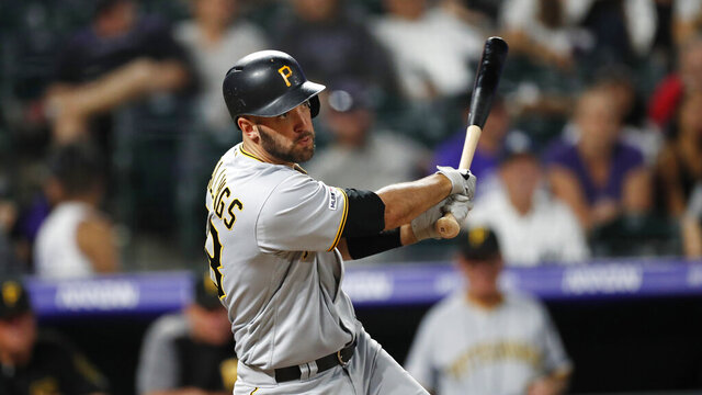 FILE - In this Aug. 31, 2019 file photo, Pittsburgh Pirates catcher Jacob Stallings (58) bats in the ninth inning of a baseball game against the Denver Rockies in Denver.  Stallings did whatever he could to extend his career. Now the 30-year-old Pittsburgh Pirates catcher who was once an afterthought now figures to be the starter on opening day, a testament to his perseverance and the team's move to become more defensively oriented in 2020. (AP Photo/David Zalubowski, File)