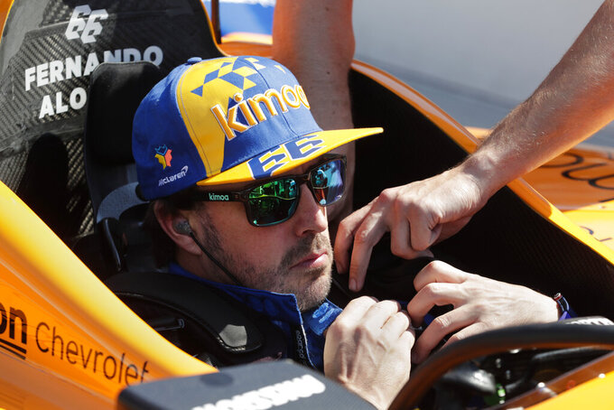 Fernando Alonso, of Spain, prepares to drive during practice for the Indianapolis 500 IndyCar auto race at Indianapolis Motor Speedway, Wednesday, May 15, 2019, in Indianapolis. (AP Photo/Michael Conroy)