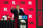 Rutgers head coach Greg Schiano talks to reporters during an NCAA college football news conference at the Big Ten Conference media days, at Lucas Oil Stadium in Indianapolis, Friday, July 23, 2021. (AP Photo/Michael Conroy)