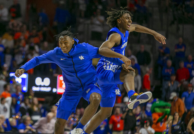 Kentucky players during the second half of an NCAA college basketball game against Florida, Saturday, March 7, 2020, in Gainesville, Fla. (AP Photo/Alan Youngblood)